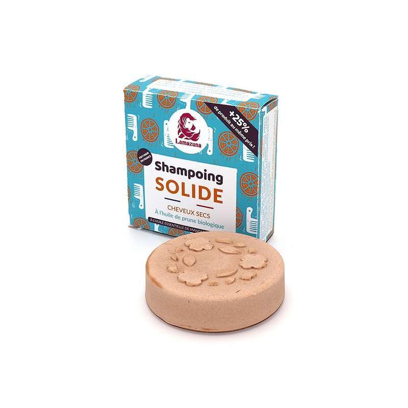 Shampoing solide cheveux secs à l'huile de prune BIO, Lamazuna (70 g)