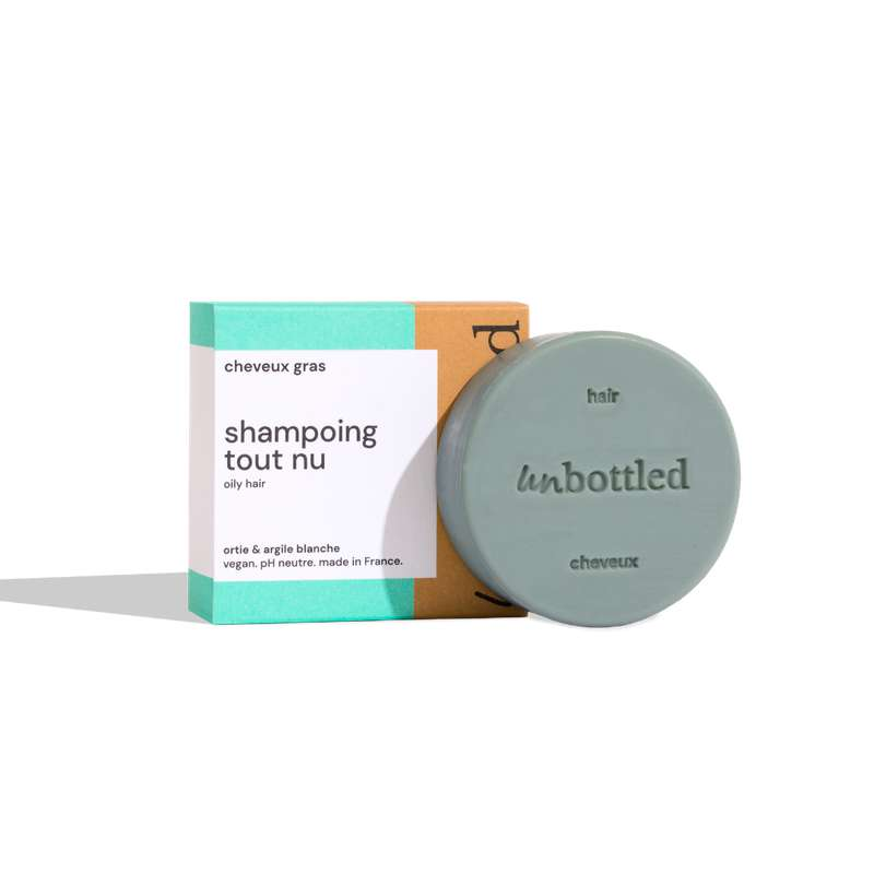 Shampoing solide tout nu - cheveux gras & pellicules, Unbottled (75 g)