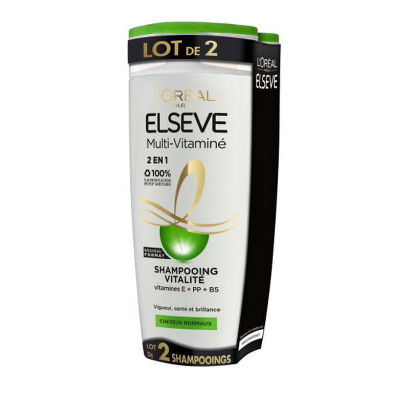 Shampoing vitalité cheveux normaux, Elseve LOT DE 2 (2 x 290 ml)