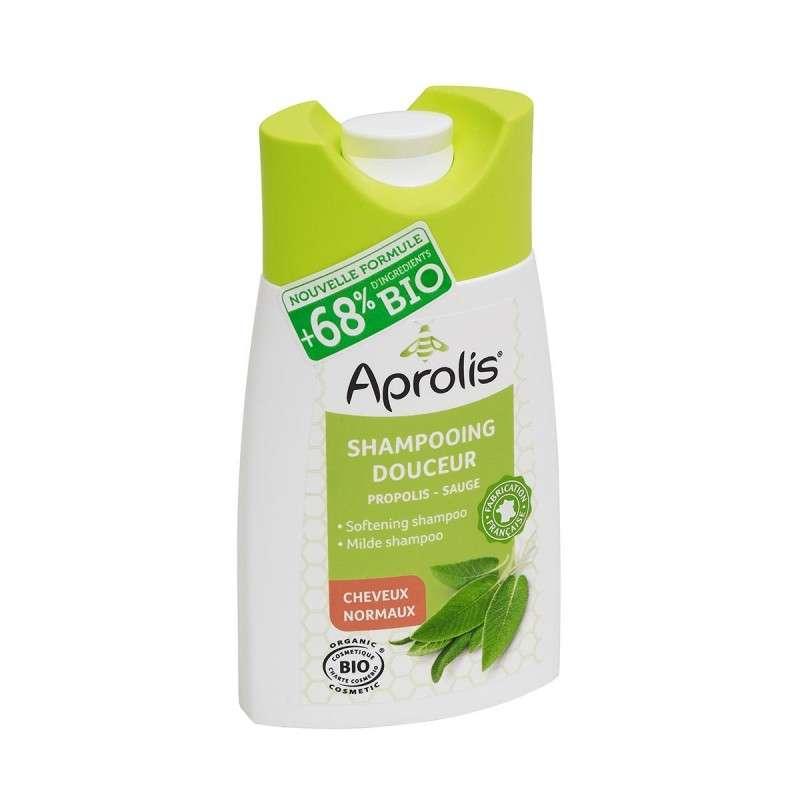 Shampooing douceur à la propolis, eau florale de sauge BIO - cheveux normaux, Aprolis (200 ml)