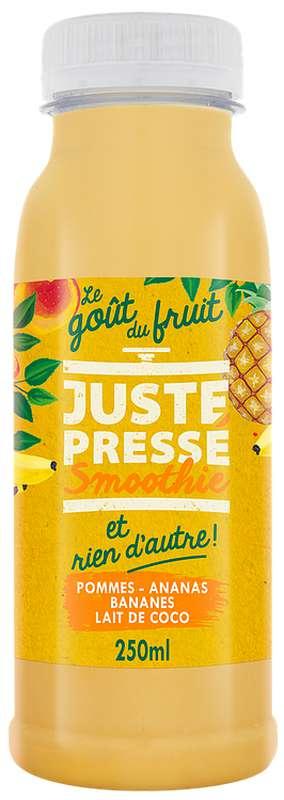 Smoothie Tropique Banane, Ananas, Pomme et Lait de Coco, Juste Pressé (25 cl)