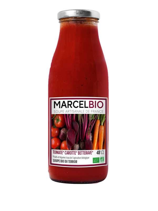 Soupe froide Tomate, Carotte et Betterave BIO, Marcel BIO (48 cl)