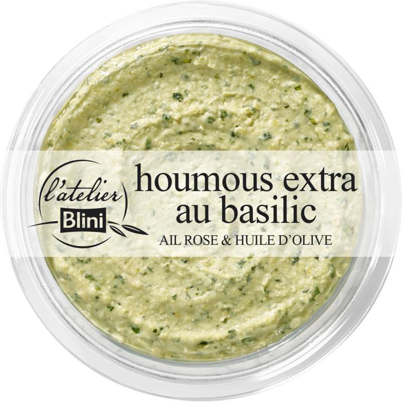 Houmous extra au basilic, L'atelier Blini (175 g)