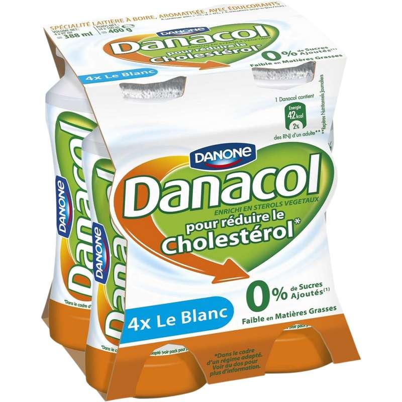 Yahourt à boire nature 0% MG, Danacol (4 x 100 g)
