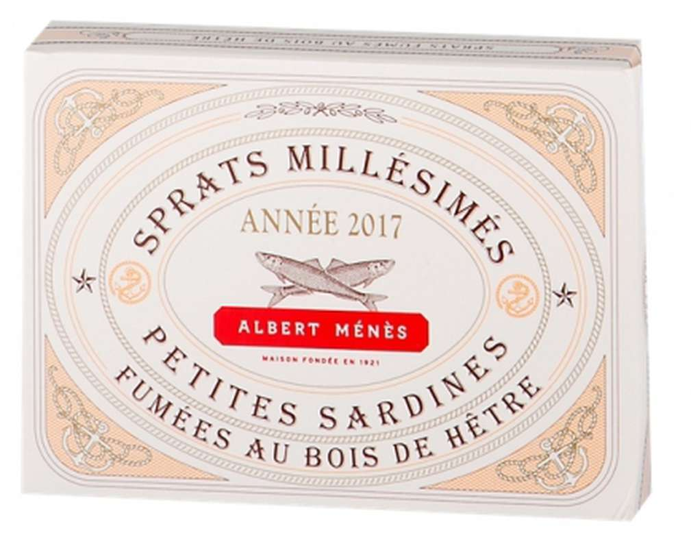 Sprats millésimés - petites sardines fumées au bois de hêtre, Albert Ménès (110 g)