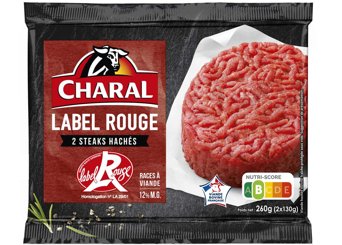 Steak haché 12%, Label rouge, Charal (x 2, 260 g)