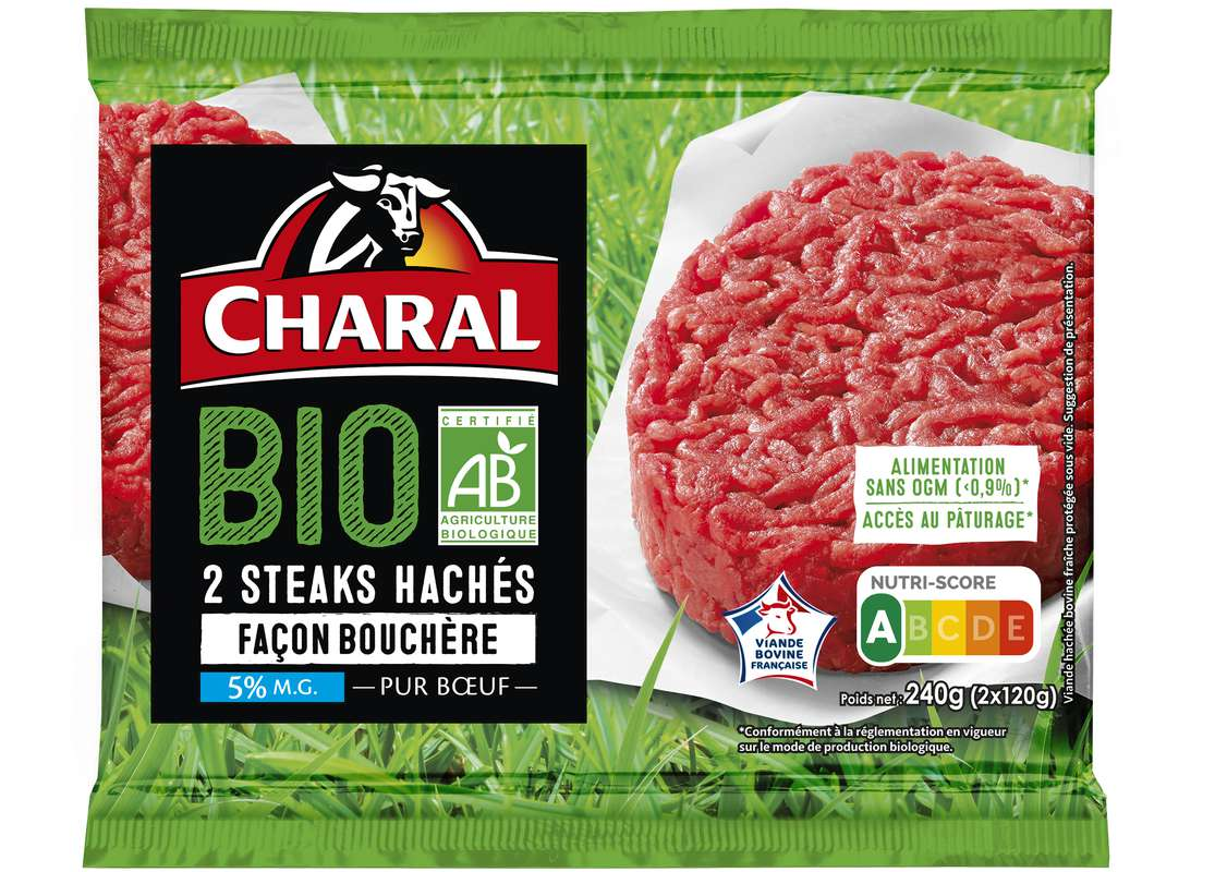 Steak haché 5%MG façon bouchère BIO, Charal (x 2, 240 g)