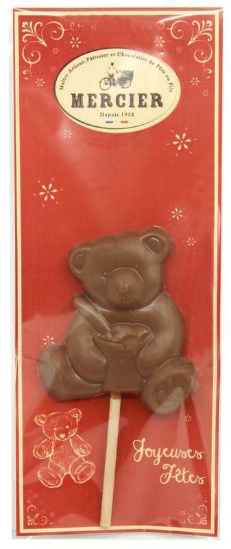 Sucette Ourson chocolat au lait, Chocolaterie Mercier (x 1, 20 g)