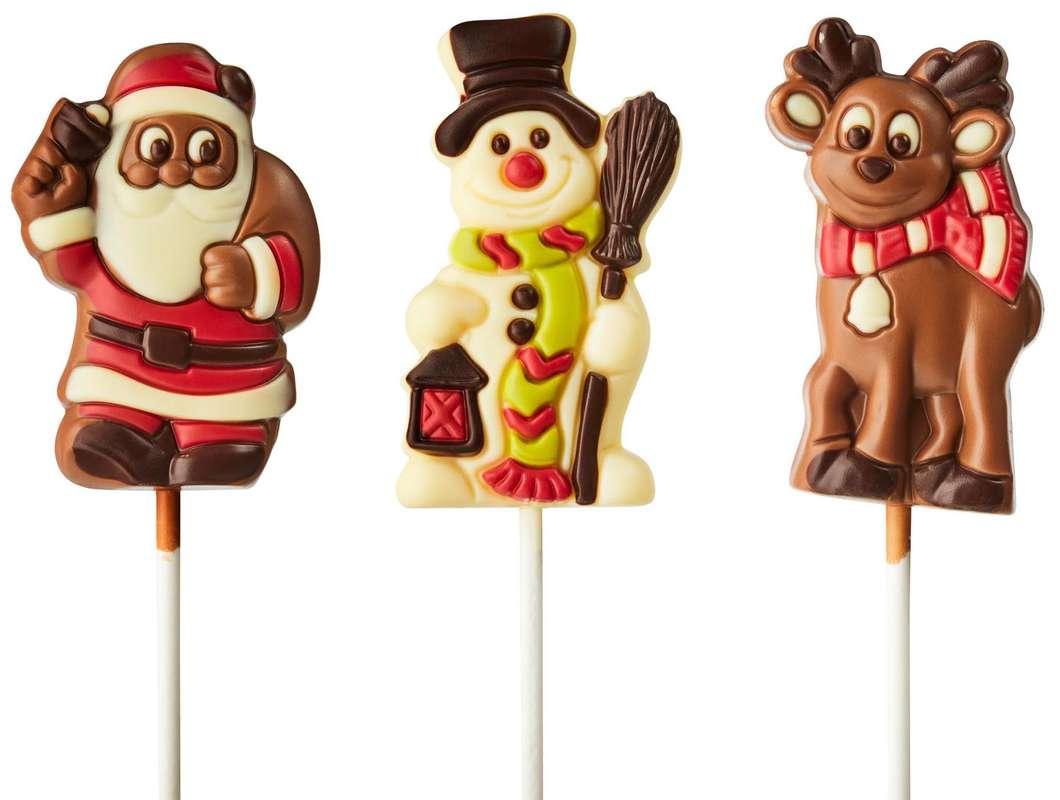 Sucette en chocolat : Élan, Père Noël ou Bonhomme de neige, Ickx (1 sucette de 35 g, modèle aléatoire)