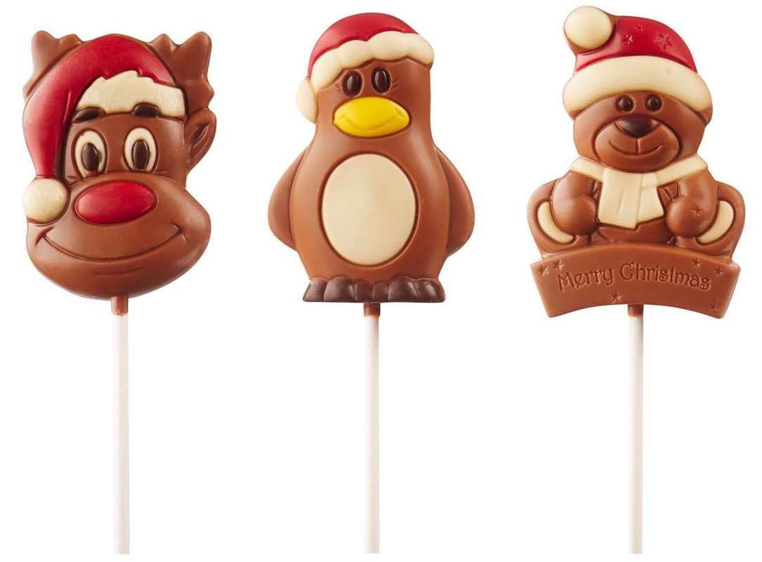 Sucette en chocolat : Renne, Manchot ou Ours, Ickx (1 sucette de 30 g, modèle aléatoire)