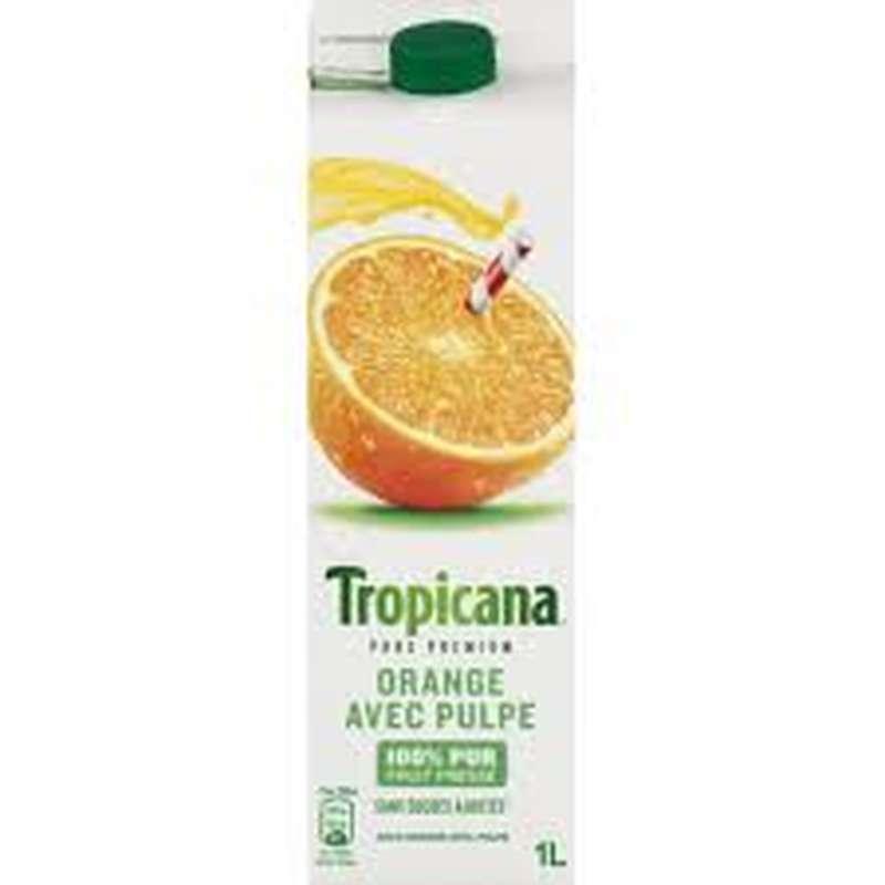 Jus d'orange pressée avec pulpe frais, Tropicana (1 L)