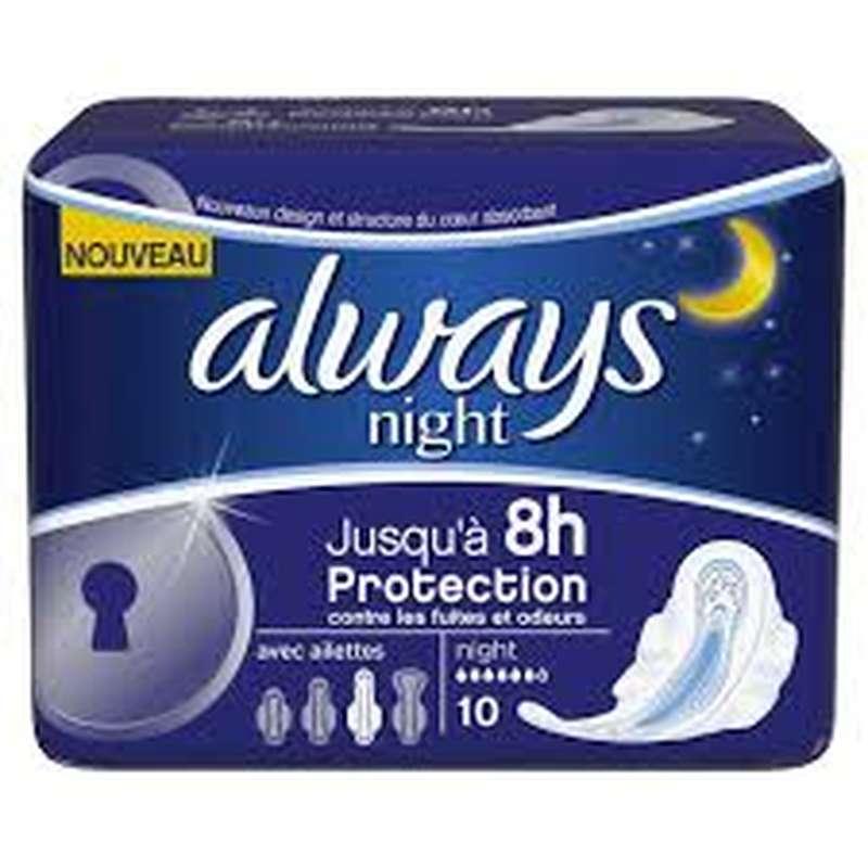 Serviettes Ultra Nuit, Always (x 10)