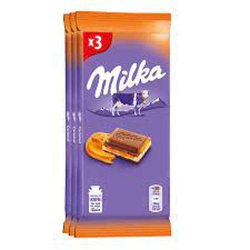 Chocolat au lait caramel fondant, Milka (3 x 100 g)