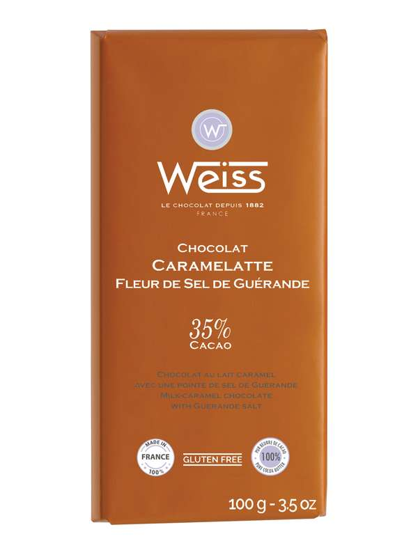 Tablette Caramelate chocolat au lait fleur de sel de Guérande 35% de cacao, Weiss (100 g)