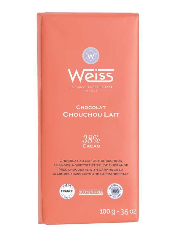 Tablette Chouchou chocolat au lait 38% de cacao, Weiss (100 g)