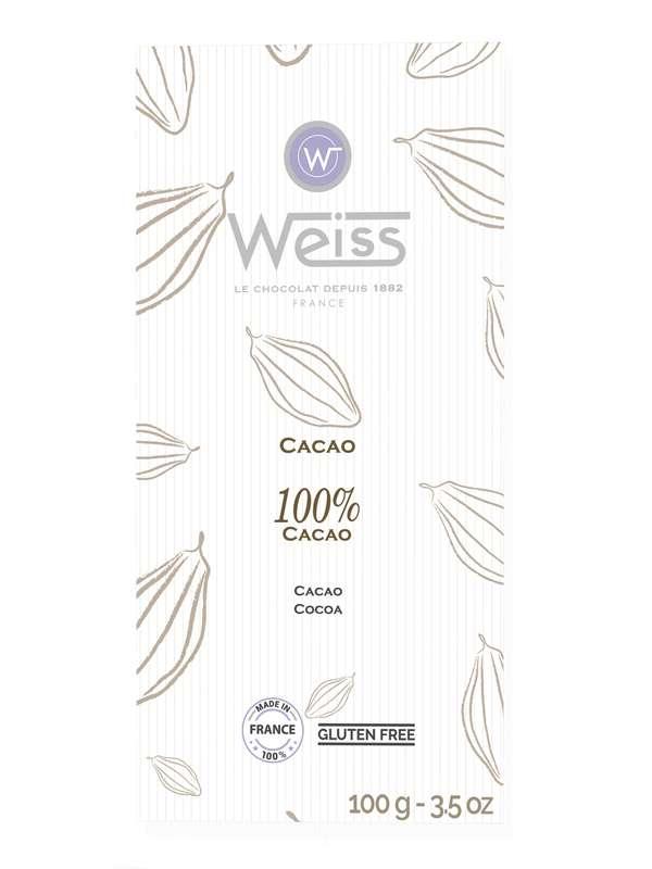 Tablette chocolat noir 100% de cacao, Weiss (100 g)