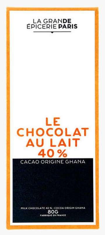 Tablette de chocolat au lait 40% origine Ghana, La Grande Epicerie de Paris (90 g)
