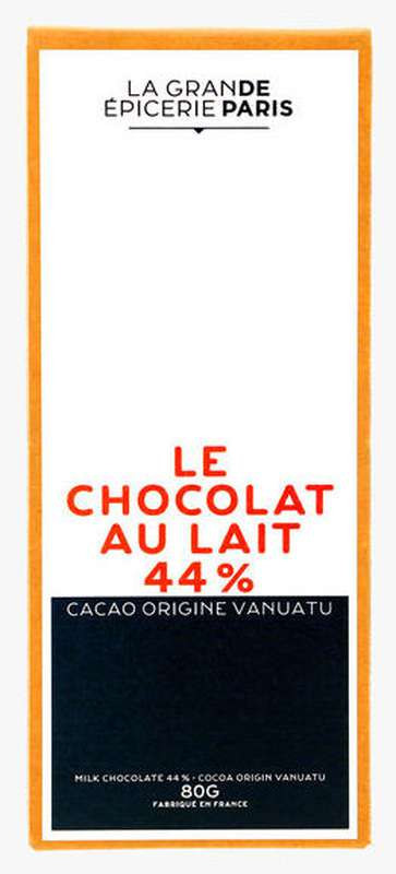 Tablette de chocolat au lait 44% origine Vanuatu, La Grande Epicerie de Paris (80 g)