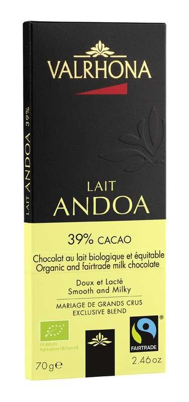 Tablette de chocolat au lait Andoa 39% BIO, Valrhona (70 g)