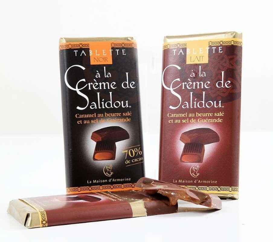 Tablette de chocolat au lait fourrée au Salidou, La Maison d'Armorine (47 g)