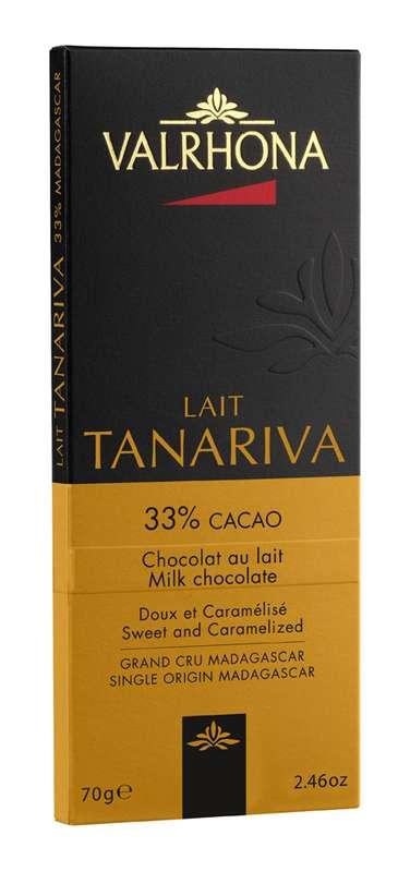 Tablette de chocolat au lait Tanariva 33%, Valrhona (70 g)