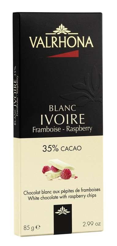Tablette de chocolat blanc Ivoire 35% et pépites de framboise, Valrhona (85 g)