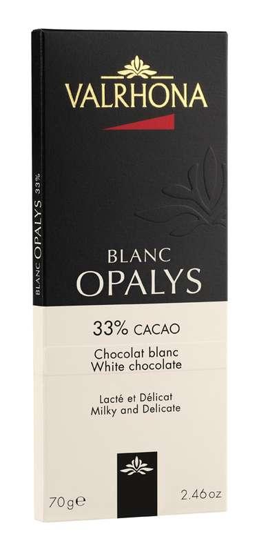 Tablette de chocolat blanc Opalys 33%, Valrhona (70 g)