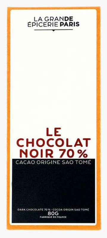 Tablette de chocolat noir 70% origine Sao Tomé, La Grande Epicerie de Paris (80 g)