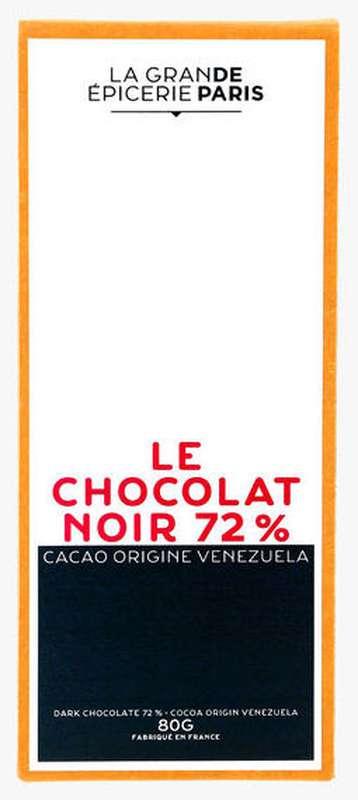 Tablette de chocolat noir 72% origine Venezuela, La Grande Epicerie de Paris (80 g)