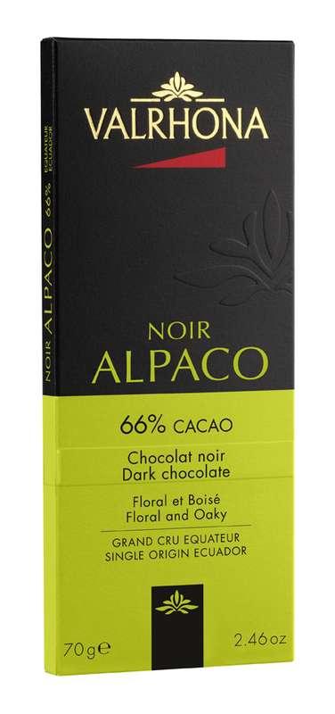 Tablette de chocolat noir Alpaco 66%, Valrhona (70 g)