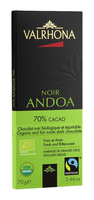 Tablette de chocolat noir Andoa 70% BIO, Valrhona (70 g)