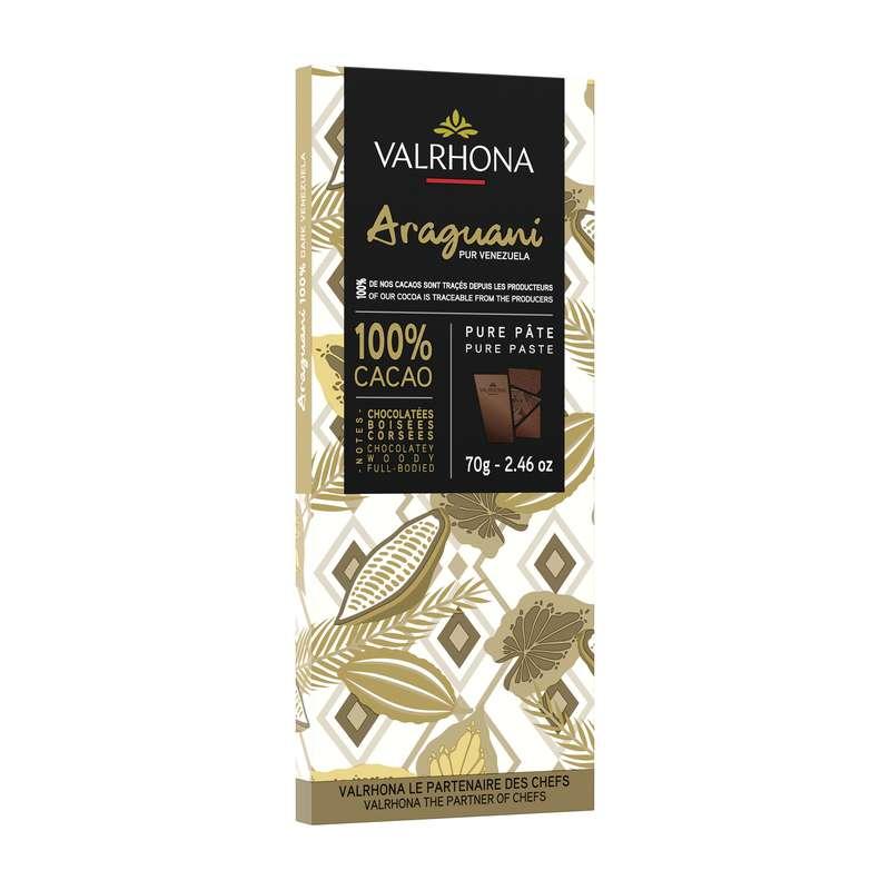 Tablette de chocolat noir Araguani 100%, Valrhona (70 g)