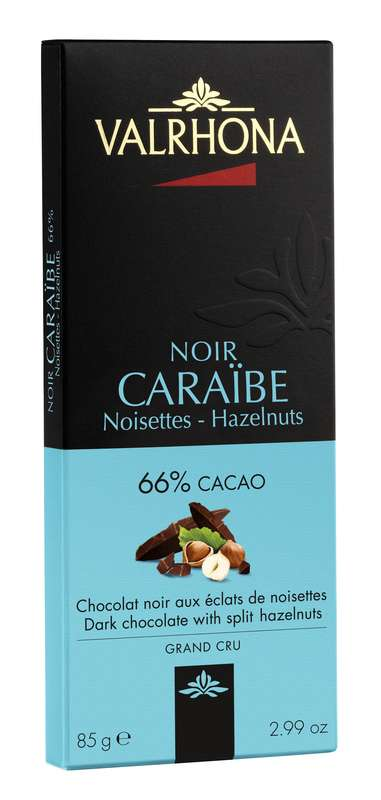 Tablette de chocolat noir Caraïbe 66% et éclats de noisette, Valrhona (85 g)