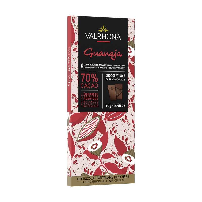 Tablette de chocolat noir Guanaja Grué 70% et éclats de cacaco, Valrhona (85 g)