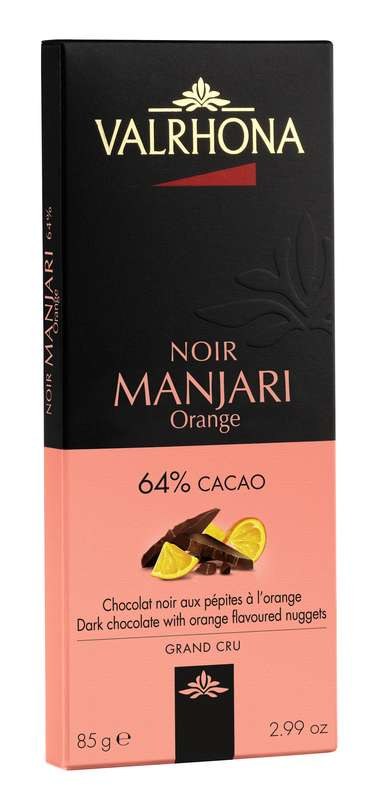 Tablette de chocolat noir Manjari 64% et orange, Valrhona (85 g)