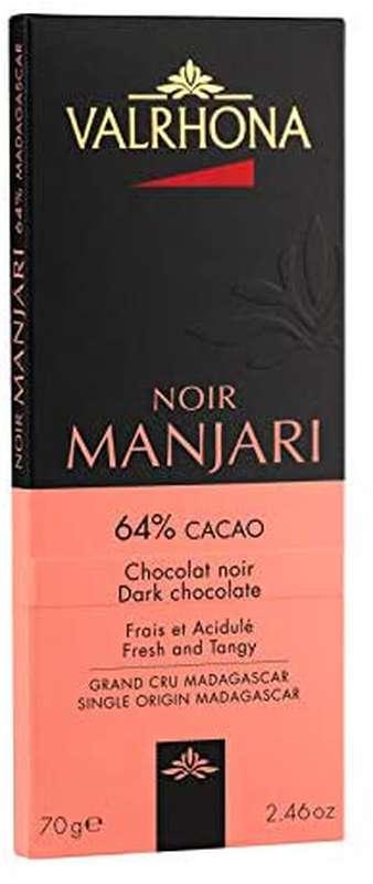 Tablette de chocolat noir Manjari 64%, Valrhona (70 g)