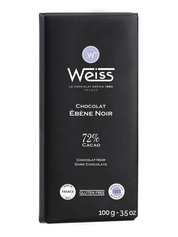 Tablette Ebène chocolat noir 72% de cacao, Weiss (100 g)