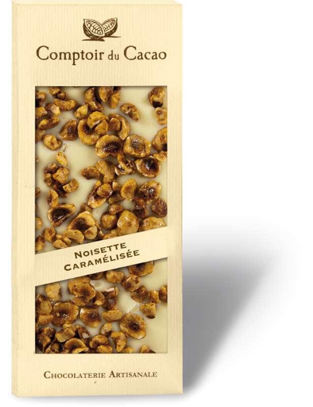 Tablette gourmande blanc noisettes caramélisées, Comptoir Cacao (90 g)