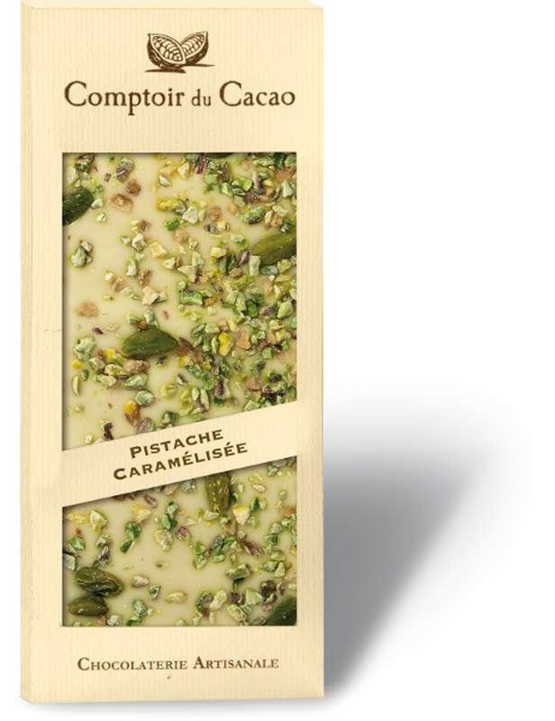 Tablette gourmande blanc pistache caramélisée, Comptoir Cacao (90 g)