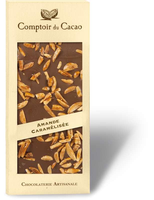 Tablette gourmande lait amandes caramélisées, Comptoir Cacao (90 g)