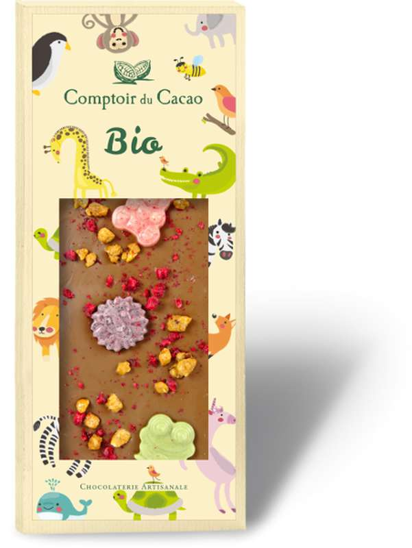 Tablette gourmande lait animaux BIO, Comptoir Cacao (90 g)