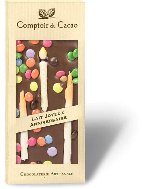 Tablette gourmande lait Joyeux Anniversaire, Comptoir Cacao (90 g)