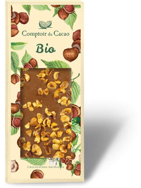Tablette gourmande lait noisettes BIO, Comptoir Cacao (90 g)