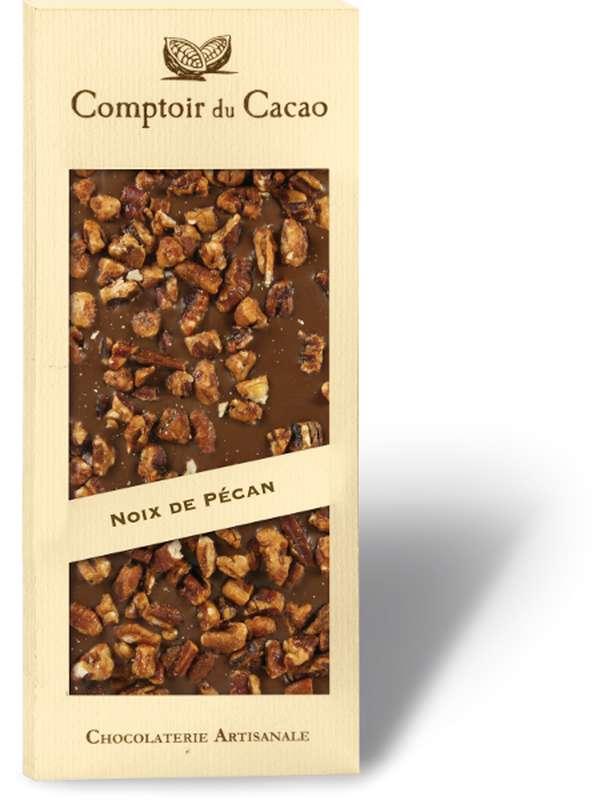 Tablette gourmande lait noix de Pécan caramélisées, Comptoir Cacao (90 g)