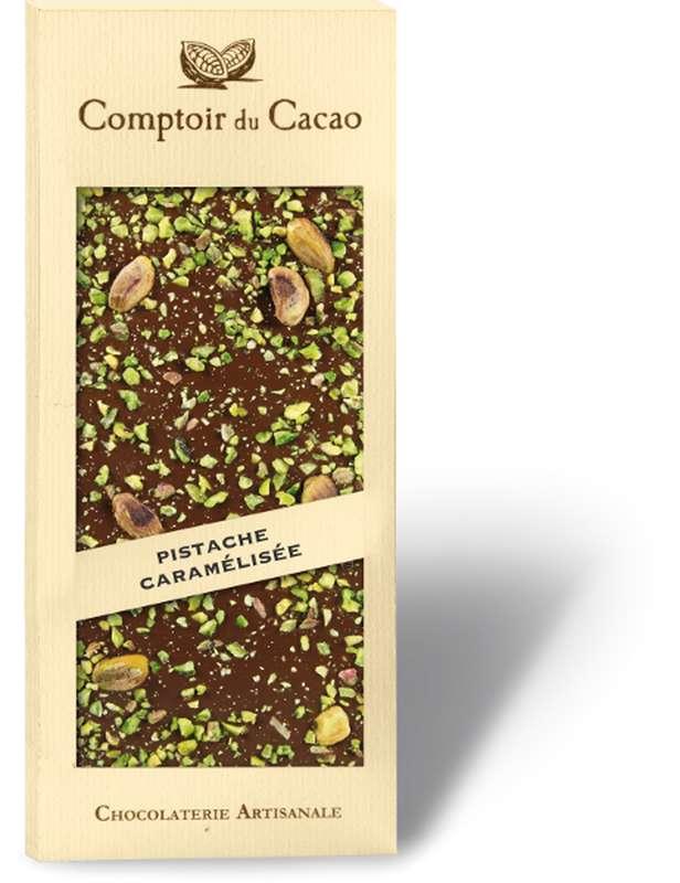 Tablette gourmande lait pistache caramélisée, Comptoir Cacao (90 g)