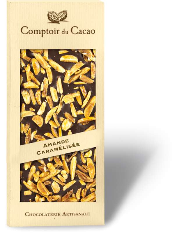 Tablette gourmande noir amandes caramélisées, Comptoir Cacao (90 g)