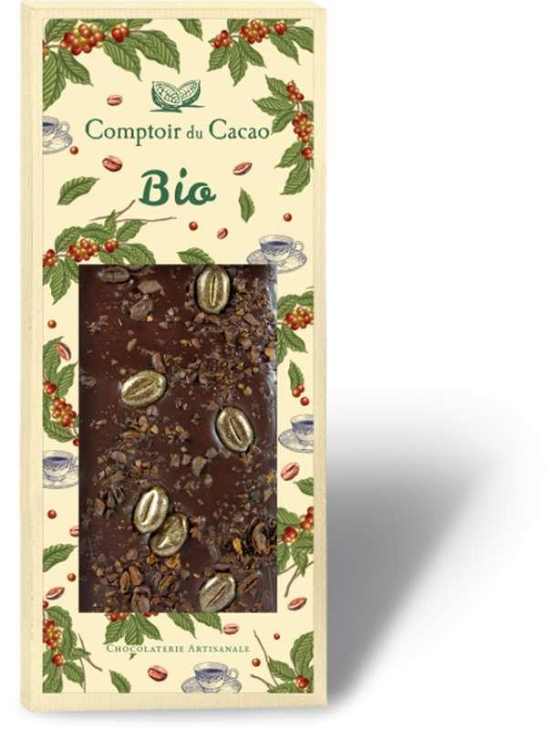 Tablette gourmande noir café BIO, Comptoir Cacao (90 g)