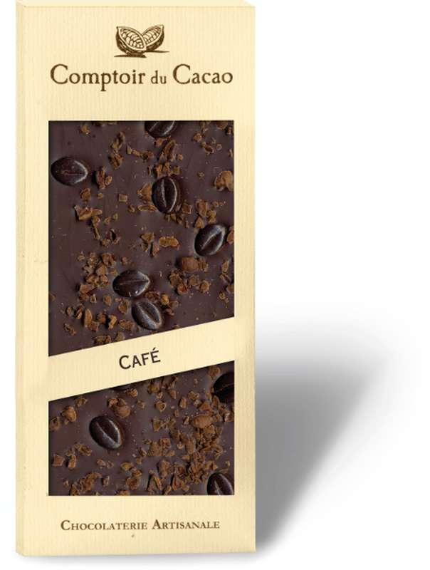 Tablette gourmande noir café, Comptoir Cacao (90 g)