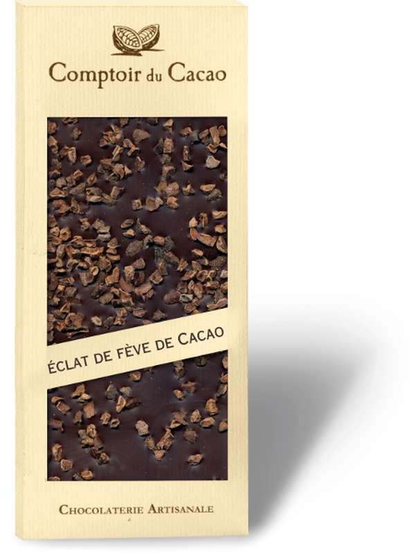 Tablette gourmande noir fève de cacao, Comptoir Cacao (90 g)