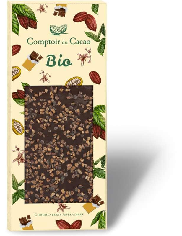 Tablette gourmande noir fèves de cacao BIO, Comptoir Cacao (90 g)